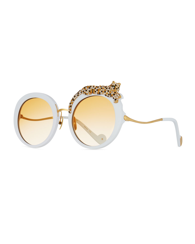 Rose et la Roue Round Crystal-Embellished Leopard Sunglasses
