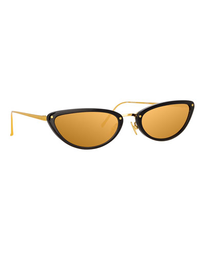 Slim Two-Tone Cat-Eye Mirrored Sunglasses, Black Pattern