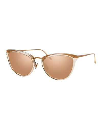 Two-Tone Cat-Eye Mirrored Sunglasses