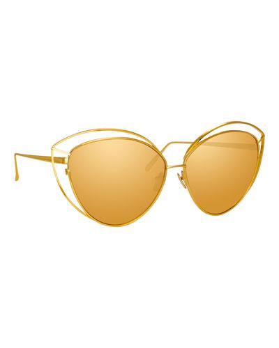Open-Inset Cat-Eye Mirrored Sunglasses, Yellow Pattern