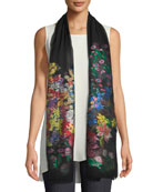 Sheer Floral-Embroidery Scarf