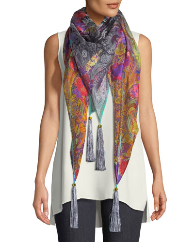 Paisley Silk-Blend Scarf w/ Floral Embroidery