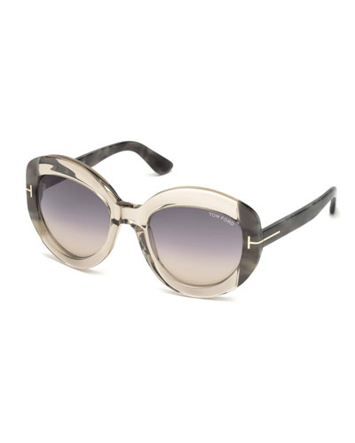 Bianca Two-Tone Acetate Gradient Sunglasses, Champagne