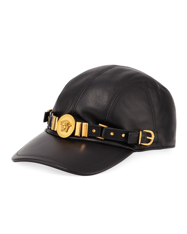 Leather Baseball Cap with Medusa Medalion