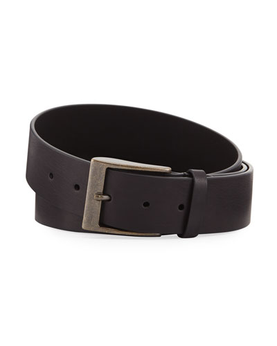 Wide Calfskin Leather Belt with Tortoise Buckle