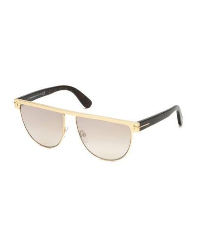 Stephanie Flat-Top Metal Sunglasses, Rose Gold