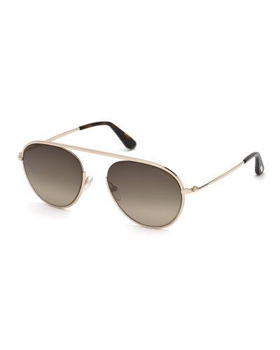 Keith Round Brow-Bar Metal Sunglasses, Rose Gold