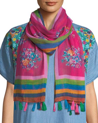 Floral-Print Oblong Scarf w/ Tassels