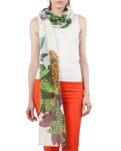 Tropical-Leave Printed Cashmere Scarf