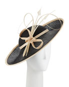Two-Tone Side Sweep Straw Hat w/ Feather Trim