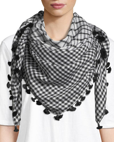 Gingham Cotton-Silk Square Scarf