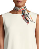 Scribble Check Silk Slim Scarf