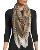 Two-Tone Vintage Check Square Scarf