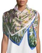 Hermionie Double-Sided Floral Silk Scarf