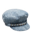 Marina Denim Newsboy Hat with Chain Detail