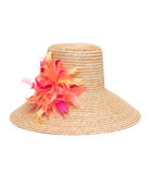 Annabelle Straw Sun Hat w/ Feather Trim
