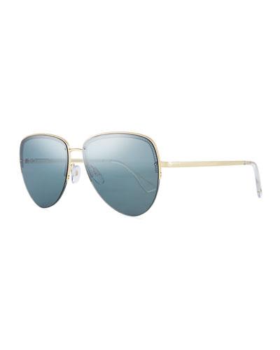 Empress Half-Rim Aviator Sunglasses