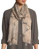 Marble-Print Fringed-Trim Scarf