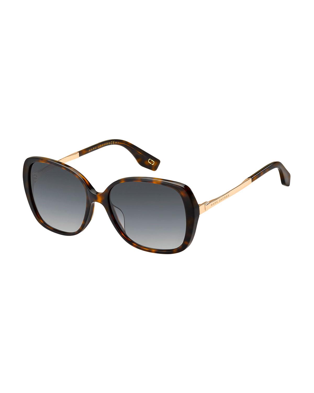 Round Acetate & Metal Polarized Sunglasses, Brown Pattern, Dark Havana