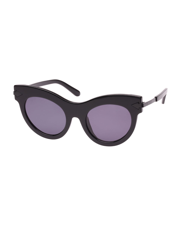 Miss Lark 52Mm Cat Eye Sunglasses - Black, Black Pattern