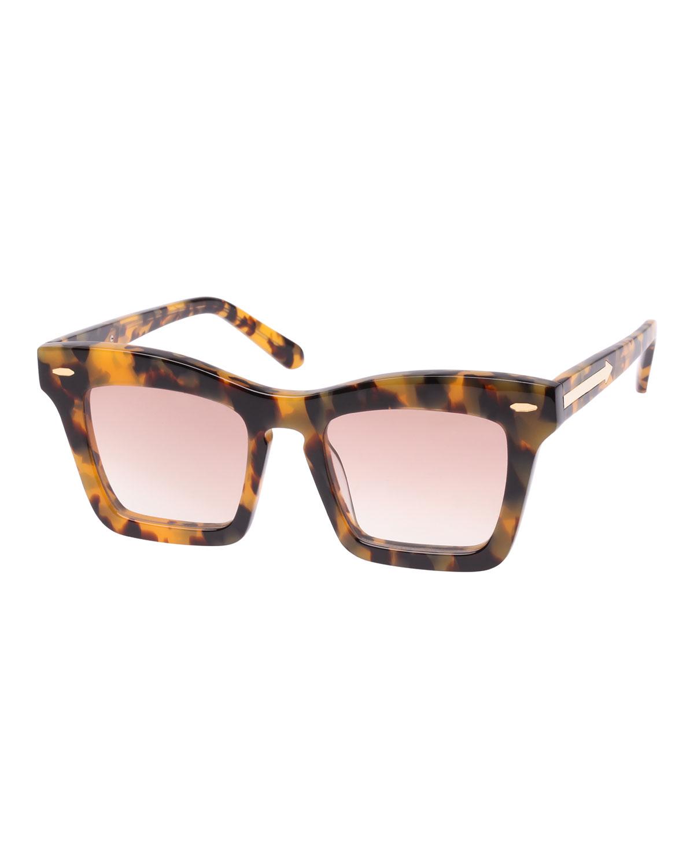 Banks 51Mm Rectangular Sunglasses - Crazy Tortoise, Brown Pattern