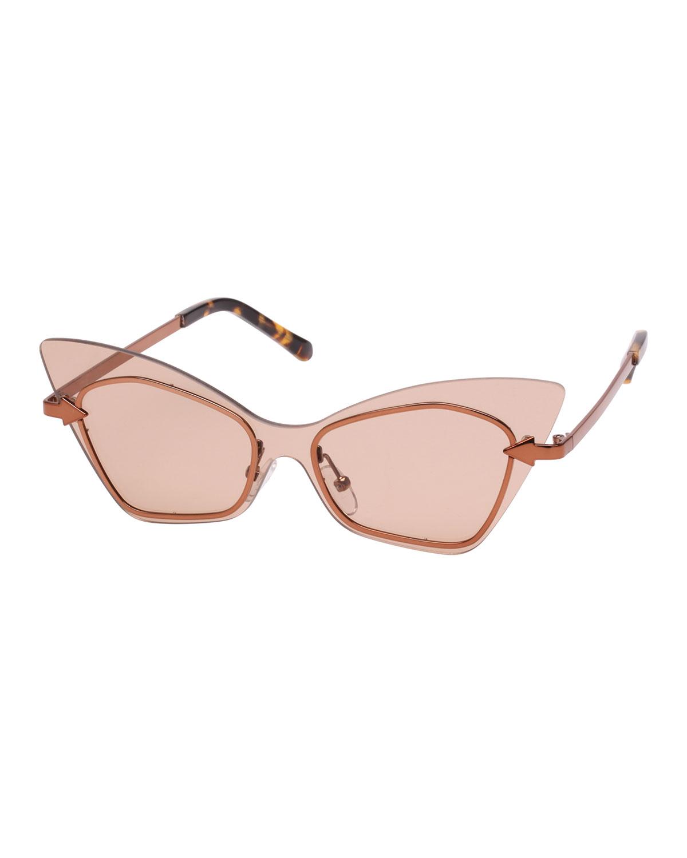 Mrs. Brill Cat-Eye Semi-Rimless Sunglasses, Brown Pattern in Crazy Tortoise