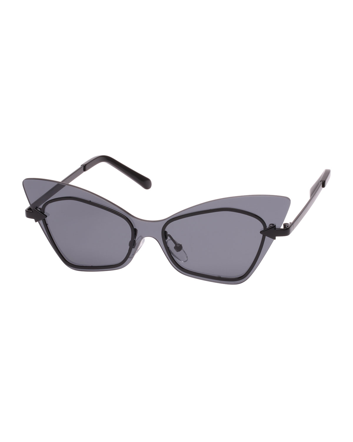 Mrs. Brill Cat-Eye Semi-Rimless Sunglasses, Black Pattern