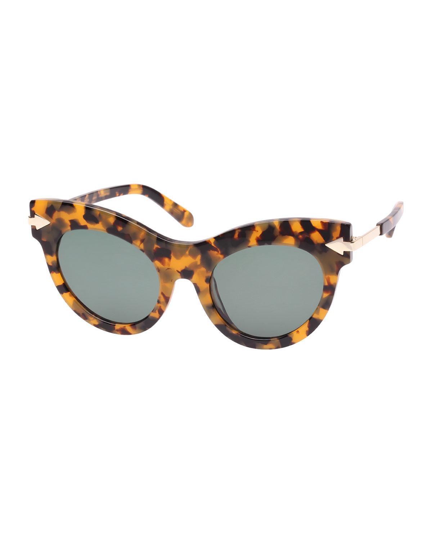 Miss Lark 52Mm Cat Eye Sunglasses - Crazy Tortoise, Brown Pattern