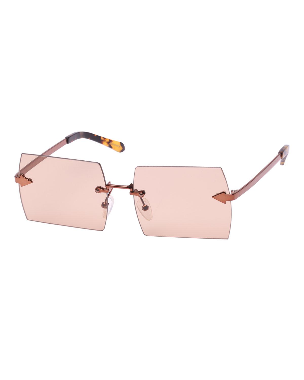 The Bird Rimless Rectangle Sunglasses, Brown Pattern