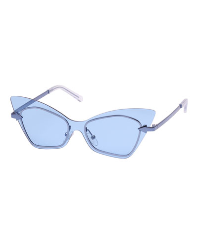 Mrs. Brill Cat-Eye Semi-Rimless Sunglasses, Blue Pattern