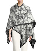 Birds Sketch Reversible Wool Cape