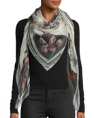 Skull & Roses Patchwork Silk Shawl