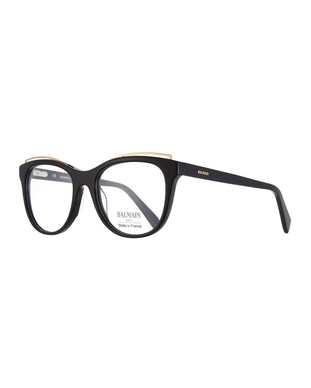 Modified Cat-Eye Acetate Optical Frames, Black Pattern
