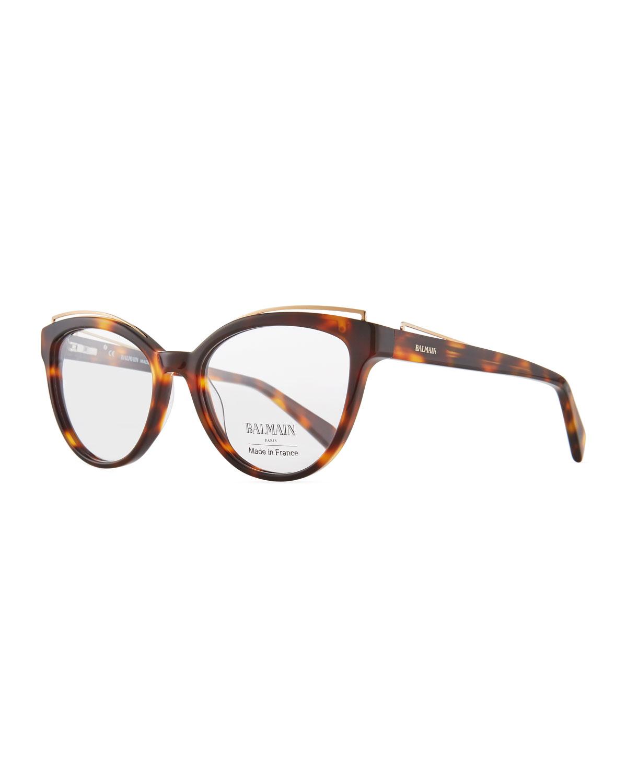 Cat-Eye Acetate Optical Frames, Brown Pattern