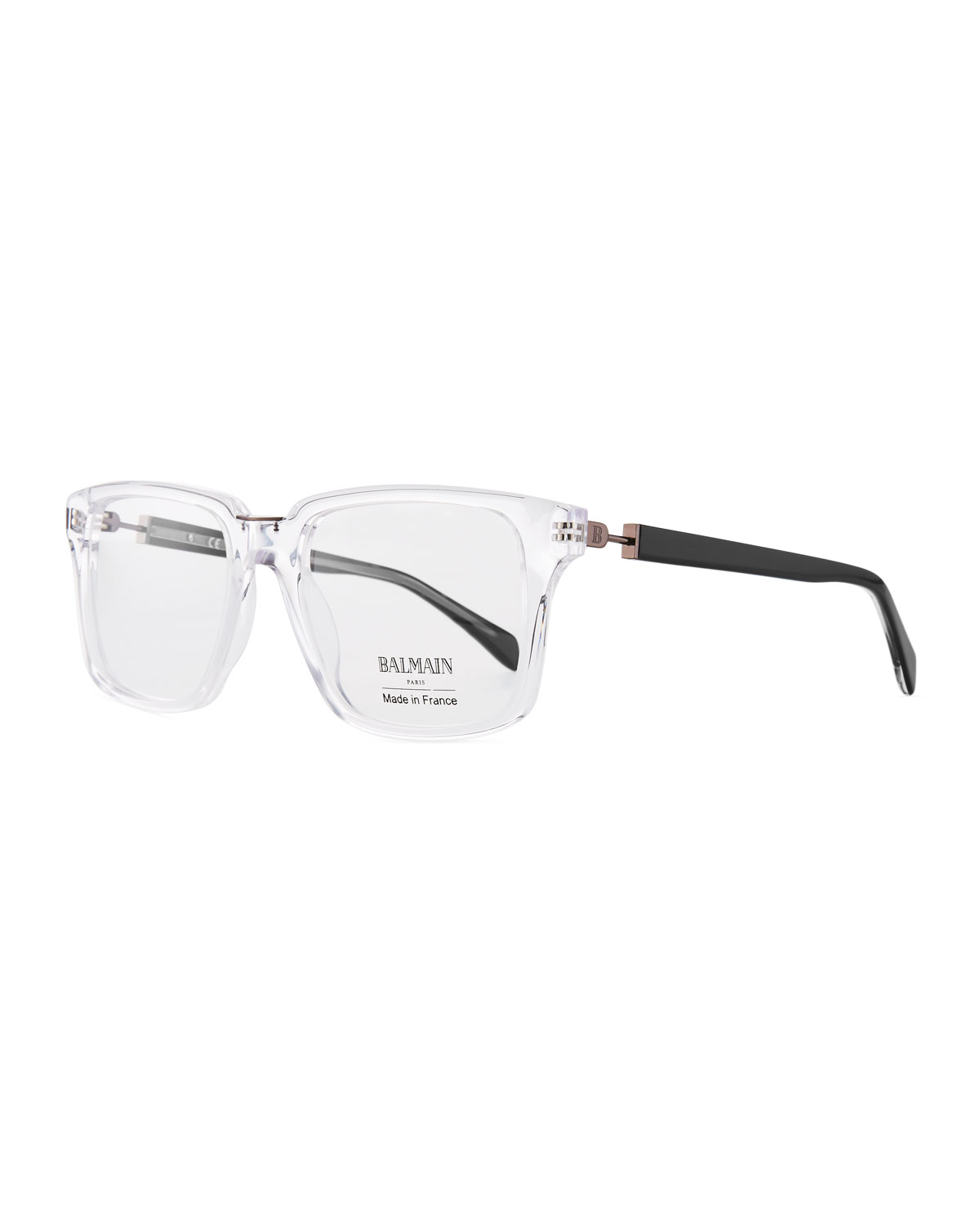 BALMAIN Clear Acetate Square Optical Glasses, White Pattern | ModeSens