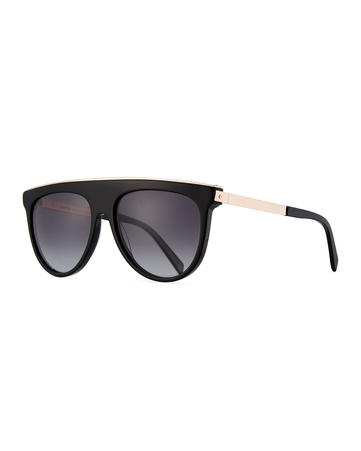 Flattop Acetate Aviator-Style Sunglasses, Black Pattern