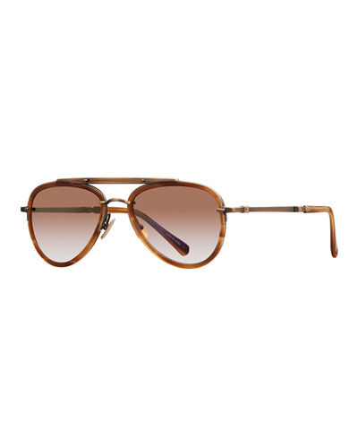 Platinum Plated Titanium Aviator Sunglasses w/ Acetate Trim, Gold