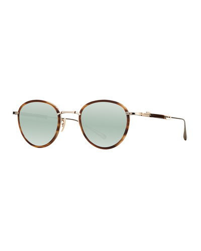 Round Mirrored Titanium & Acetate Sunglasses, Green/Gold