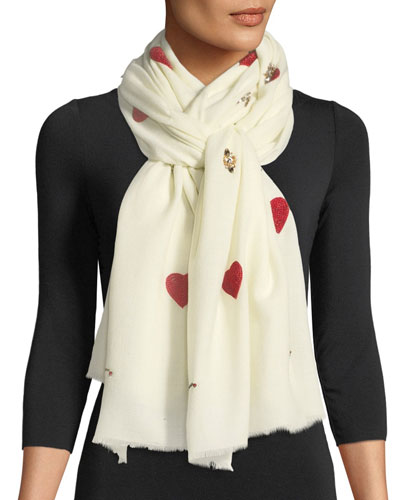 Hearts & Matchsticks Embellished Scarf