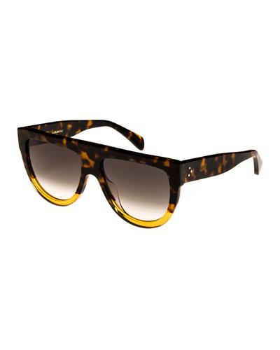Flattop Two-Tone Shield Sunglasses, Brown Pattern
