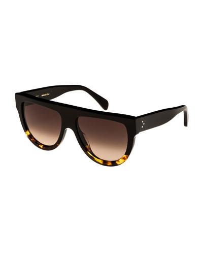 Flattop Two-Tone International-Fit Shield Sunglasses, Black Pattern