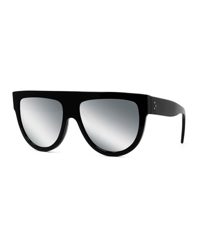 Special Fit 60Mm Polarized Gradient Flat Top Sunglasses - Black/ Gradient Smoke, Black Pattern
