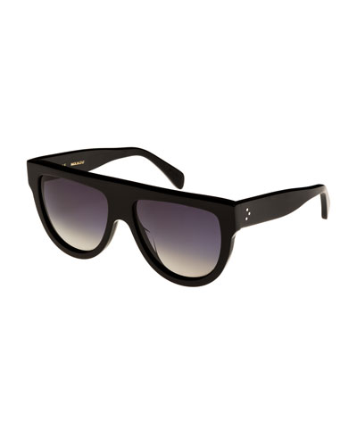 Flattop Gradient Shield Universal-Fit Sunglasses, Black Pattern