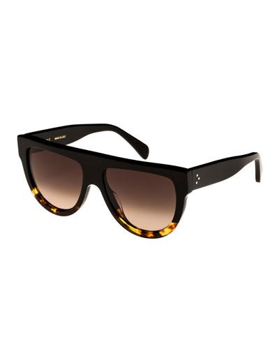Flattop Two-Tone Shield Sunglasses, Black Pattern