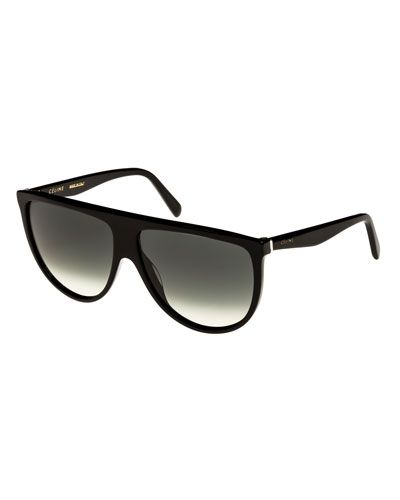Flattop Gradient Shield Sunglasses, Light Brown