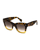 Two-Tone Gradient Cat-Eye Sunglasses, Dark Brown