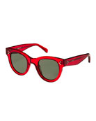 Studded Round Acetate Sunglasses, Red Pattern
