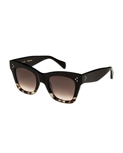 Two-Tone Gradient Cat-Eye Sunglasses, Black