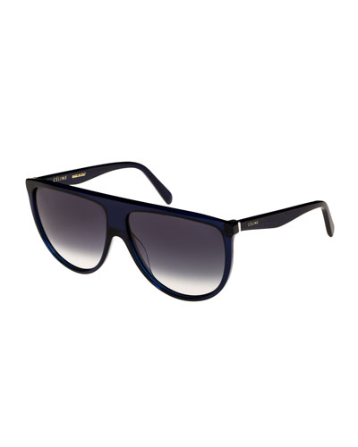 Flattop Gradient Shield Sunglasses, Blue Pattern