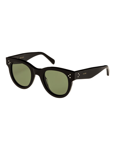 Studded Acetate Sunglasses W/ Mineral Lenses, Black, Black Pattern